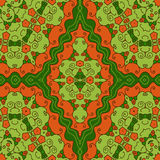 Seamless hexagonal background. Hexagonal seamless ornament, shades of green and orange, oriental style Royalty Free Stock Photos