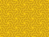 Seamless hexagonal pattern . Design dark yellow on yellow Stock Photo