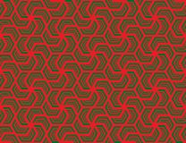 Seamless hexagonal pattern vector. Design green on red Stock Image