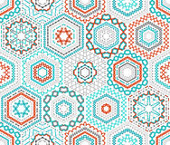 Seamless hexagons embroidery pattern. Royalty Free Stock Image