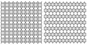Seamless hexagons patterns. Latticed textures. Stock Photography