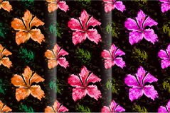 Seamless hibiscus flower semi abstract style. On black background, illustration stock illustration