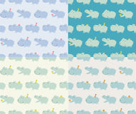 Seamless hippo cartoon pattern Royalty Free Stock Images