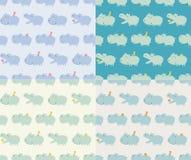 Seamless hippo cartoon pattern. Seamless blue hippo cartoon pattern Stock Illustration