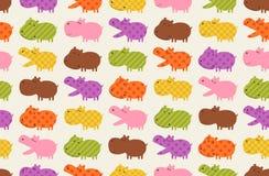 Seamless hippo cartoon pattern. Seamless colorful hippo cartoon pattern Vector Illustration