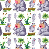 Seamless hippos and plants Royalty Free Stock Photography