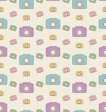 Seamless Hipster Background with Cameras, Vintage Pattern Royalty Free Stock Photos