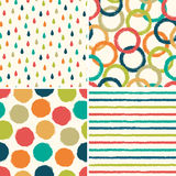 Seamless hipster background patterns in retro colors. Set of four seamless hipster background patterns in retro colors Royalty Free Stock Photography