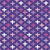 Seamless hipster crosses background pattern pink purple. Seamless vector background with hipster crosses pattern in purple and pink. Light grunge effect. Rough Royalty Free Stock Photos