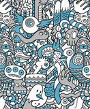 Seamless Hipster Doodle Monster Pattern Stock Image