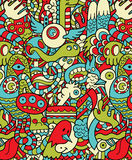 Seamless Hipster Doodle Monster Pattern Stock Photos