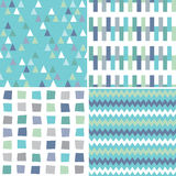Seamless hipster geometric patterns in aqua blue and gray. Vector set of seamless hipster geometric background patterns in aqua blue, green and gray, with Royalty Free Stock Images