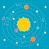 Seamless hipster illustration of interstellar solar system. Stock Image