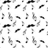 Seamless hipster illustration set with mustache music note and bow raw brush texture background pattern in vector stock illustration