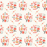 Seamless hipster love pattern in cream and red Vector Illustration