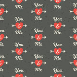 Seamless hipster love pattern You and Me in red an Royalty Free Stock Photo