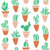 Seamless hipster pattern with cactuses. Seamless hipster pattern made of cactuses in flower pots Royalty Free Stock Photos