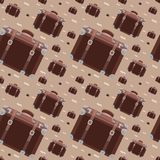 Seamless hipster pattern with retro suitcase stock illustration
