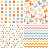 Seamless hipster pattern set orange pink gray Stock Image