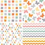 Seamless hipster pattern set orange pink gray Stock Image