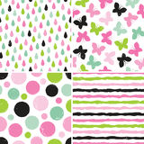 Seamless hipster patterns for girls in pink and green. Set of seamless hipster backgrounds for girls in pinks and greens. Rough hand drawn patterns with Royalty Free Stock Photo
