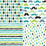 Seamless Hipster Patterns In Blues And Greens Royalty Free Stock Photography