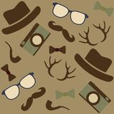 Seamless Hipster's icons background Royalty Free Stock Photography