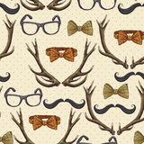 Seamless hipster vintage background with antlers Stock Images