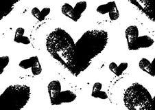 Seamless hjärta mönstrar Hand målade hjärtor med grova kanter Royaltyfria Bilder