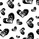 Seamless hjärta mönstrar Hand målade hjärtor med grova kanter Royaltyfri Bild