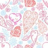 Seamless hjärtor och blommor texturerar Stock Illustrationer