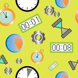 Seamless pattern with different types of clocks vector illustration
