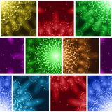 Fireworks Seamless Pattern. Seamless Holiday Background with Fireworks of Various Colors and Shapes. Tile Pattern for Web Design, Split Into Separate Parts Stock Photo