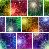 Fireworks Seamless Pattern. Seamless Holiday Background with Fireworks of Various Colors and Shapes. Tile Pattern for Web Design, Split Into Separate Parts Stock Photos