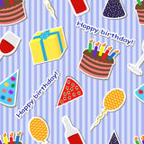 Seamless holiday background. Seamless striped background with a birthday cake, presents, balloons and caps Stock Photo