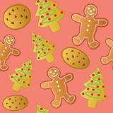 Seamless Holiday Cookies Stock Images