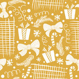 Seamless Holiday hand drawn pattern with gift, christmas trees. Vector Illustration. Stock Images
