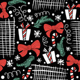 Seamless Holiday hand drawn pattern with gift, christmas trees. Vector Illustration. Royalty Free Stock Photography