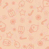 Seamless holiday hand drawn pattern in peach colour Royalty Free Stock Image