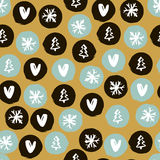 Seamless Holiday hand drawn pattern with snowflakes,hearts, christmas trees. Vector Illustration. Royalty Free Stock Photo
