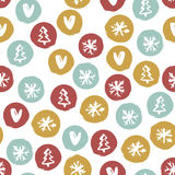 Seamless Holiday hand drawn pattern with snowflakes,hearts, christmas trees. Vector Illustration. Royalty Free Stock Image