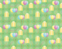 Seamless holiday pattern. Green seamless holiday pattern  with presents and balloons Royalty Free Stock Photography