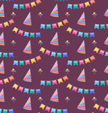 Seamless Holiday Pattern with Colorful Buntings and Party Hats Royalty Free Stock Images