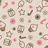 Seamless holiday pattern hand drawn pink and brown Royalty Free Stock Photography