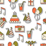 Seamless holiday pattern, happy birthday, festive background. For design Stock Photos