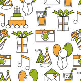 Seamless holiday pattern, happy birthday, festive background. For design Stock Photography