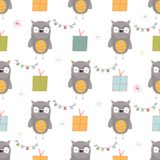 Seamless holiday pattern with owl and presents. Hand drawn Christmas background for greeting card,  posters, invitation, children room, nursery decor, interior Royalty Free Stock Images