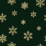 Seamless holiday texture, Christmas pattern with gold snowflakes decoration for textiles, brochure, card. EPS 10 stock illustration