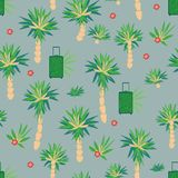 Seamless holiday themed pattern with palm trees suitcases and flowers vector illustration
