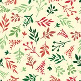 Seamless Holiday vector background with abstract leaves red, green, beige. Simple leaf texture, endless foliage pattern. Christmas stock illustration
